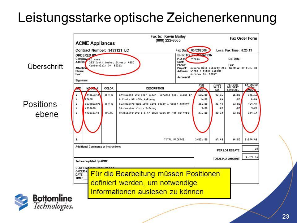 23 Leistungsstarke optische Zeichenerkennung Überschrift Positions- ebene Für die Bearbeitung müssen Positionen definiert werden, um notwendige Inform