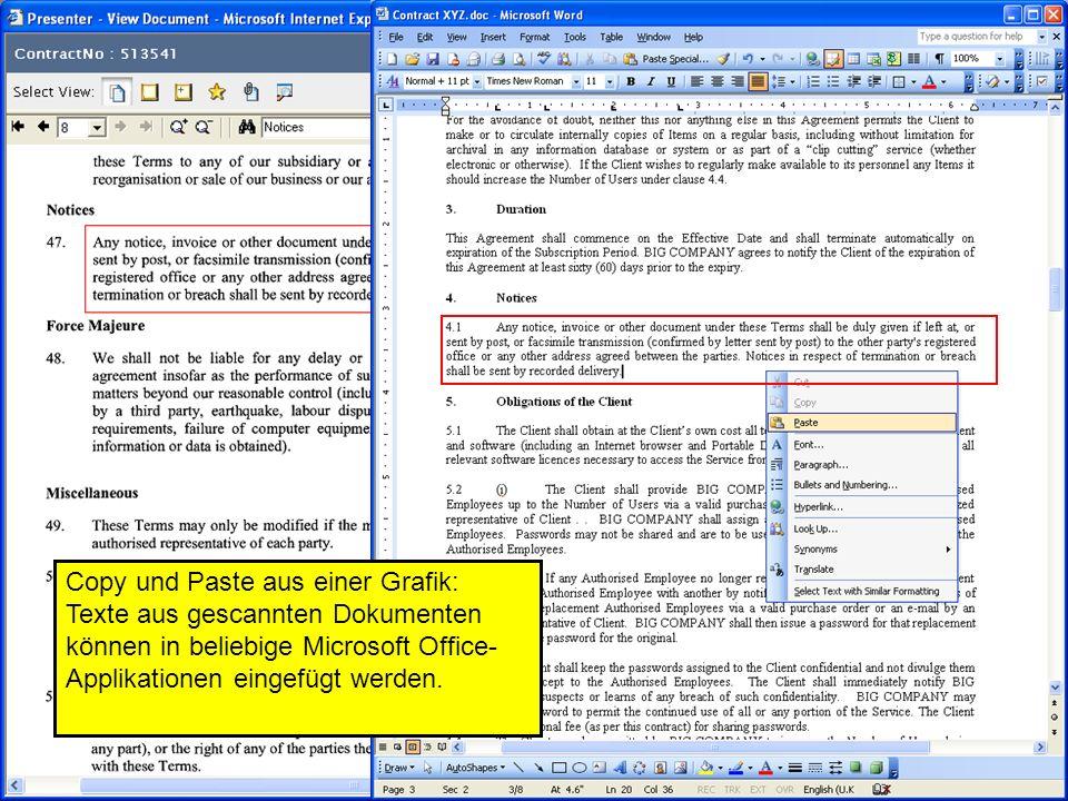 31 Copy und Paste aus einer Grafik: Texte aus gescannten Dokumenten können in beliebige Microsoft Office- Applikationen eingefügt werden.
