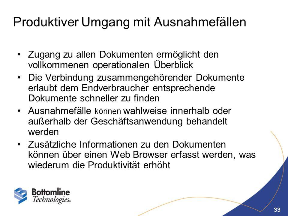 33 Produktiver Umgang mit Ausnahmefällen Zugang zu allen Dokumenten ermöglicht den vollkommenen operationalen Überblick Die Verbindung zusammengehören