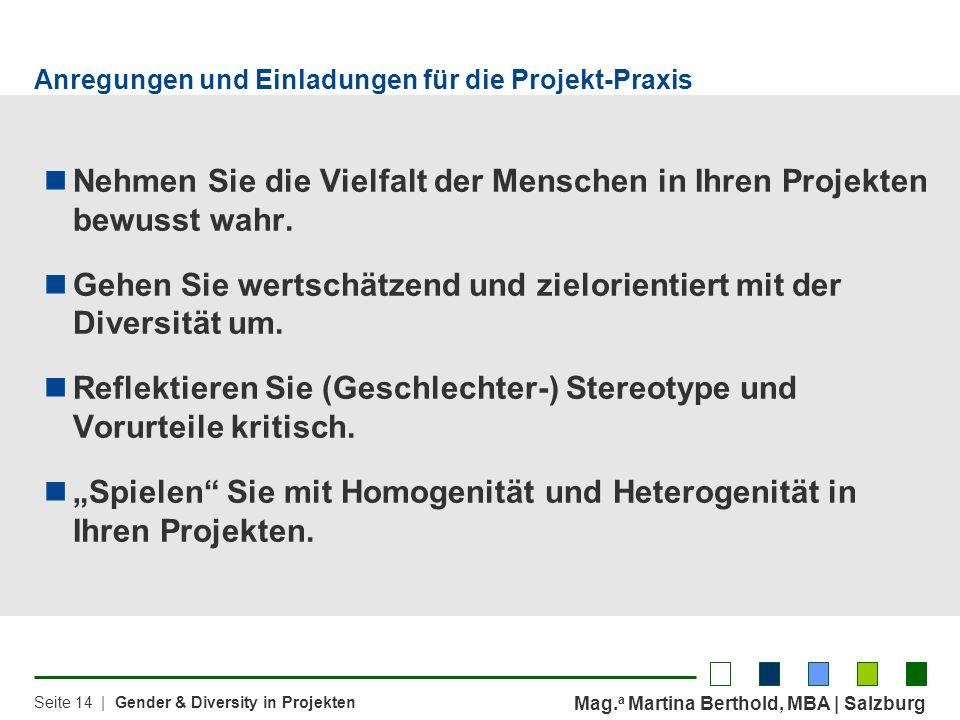 Mag. a Martina Berthold, MBA | Salzburg Seite 14 | Gender & Diversity in Projekten Anregungen und Einladungen für die Projekt-Praxis Nehmen Sie die Vi
