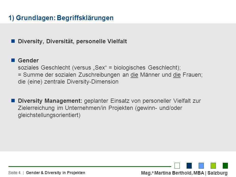 Mag. a Martina Berthold, MBA | Salzburg Seite 4 | Gender & Diversity in Projekten Diversity, Diversität, personelle Vielfalt Gender soziales Geschlech