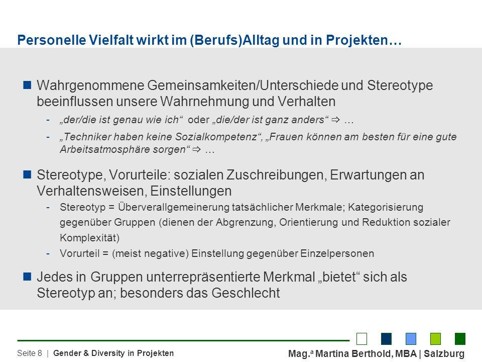 Mag. a Martina Berthold, MBA | Salzburg Seite 8 | Gender & Diversity in Projekten Personelle Vielfalt wirkt im (Berufs)Alltag und in Projekten… Wahrge