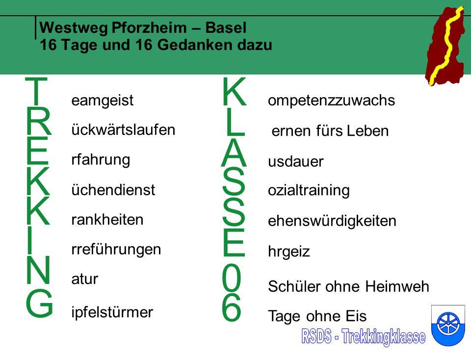 Westweg Pforzheim – Basel 16 Tage und 16 Gedanken dazu T eamgeist R ückwärtslaufen E rfahrung K üchendienst K rankheiten I rreführungen N atur G ipfel