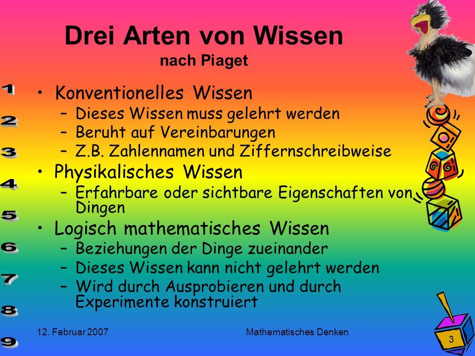 12. Februar 2007 Mathematisches Denken 3 Drei Arten von Wissen nach Piaget Konventionelles Wissen –Dieses Wissen muss gelehrt werden –Beruht auf Verei