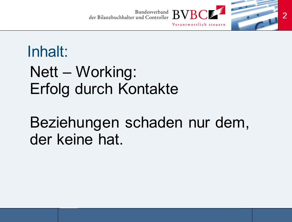2 Inhalt: Nett – Working: Erfolg durch Kontakte Beziehungen schaden nur dem, der keine hat.