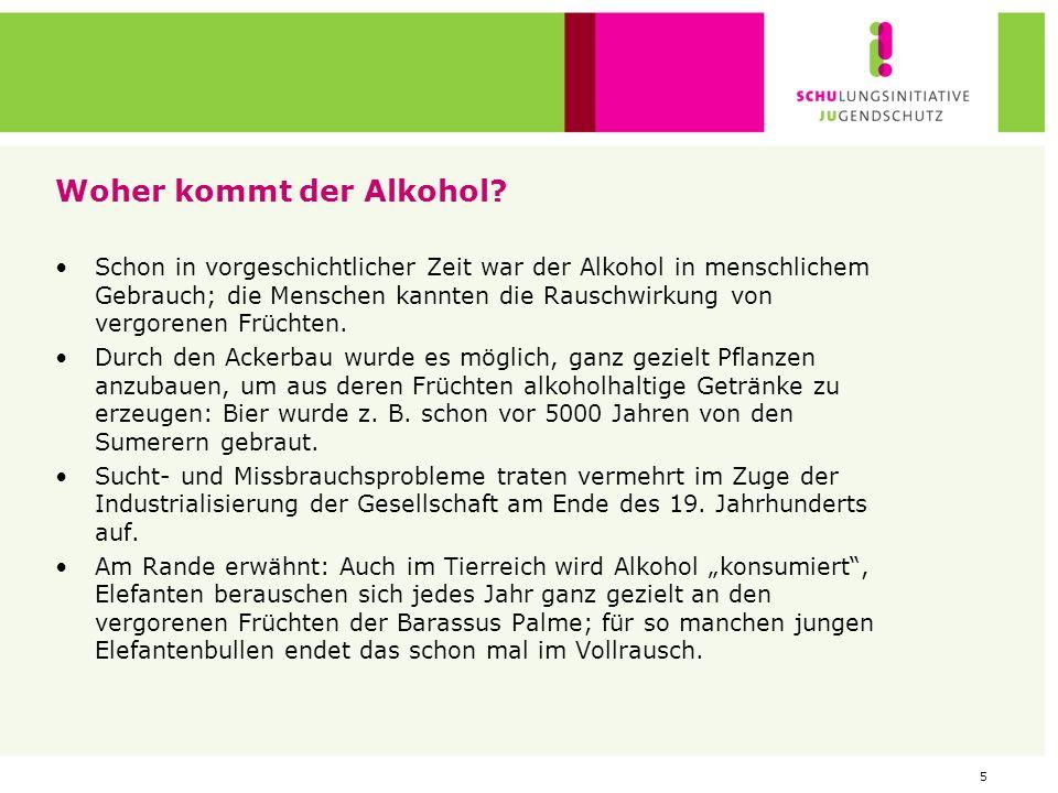 4 Rein chemisch betrachtet: Wie entsteht Alkohol? Alkohol (chemisch Ethanol) entsteht bei der alkoholischen Gärung: -> Spaltung von Zucker durch Hefe