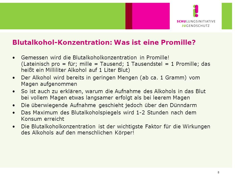 7 Alkoholgehalt nach gängigen Ausschankeinheiten Alkoholgehalt in Gramm pro Liter zum Vergleich: Bier (4,8 %vol): 40 g Wein (11 %vol): 88 g Spirituose