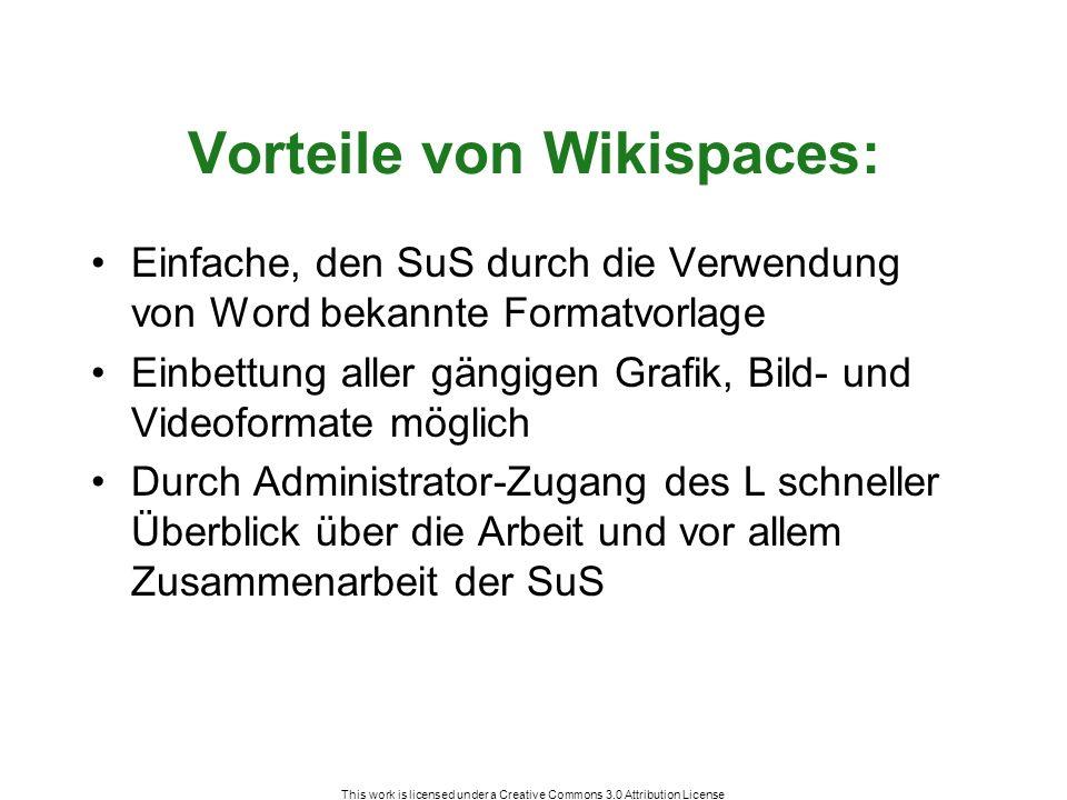 This work is licensed under a Creative Commons 3.0 Attribution License Vorteile von Wikispaces: Einfache, den SuS durch die Verwendung von Word bekannte Formatvorlage Einbettung aller gängigen Grafik, Bild- und Videoformate möglich Durch Administrator-Zugang des L schneller Überblick über die Arbeit und vor allem Zusammenarbeit der SuS