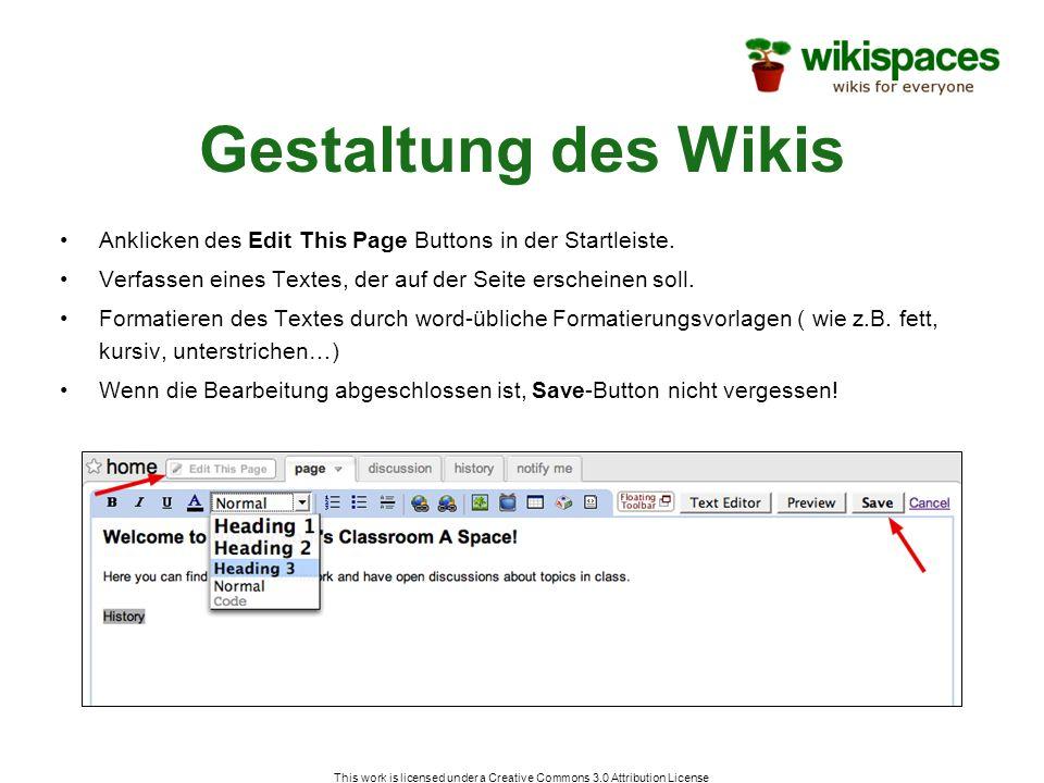 This work is licensed under a Creative Commons 3.0 Attribution License Hinzufügen von Links Anklicken des Edit This Page-Buttons.