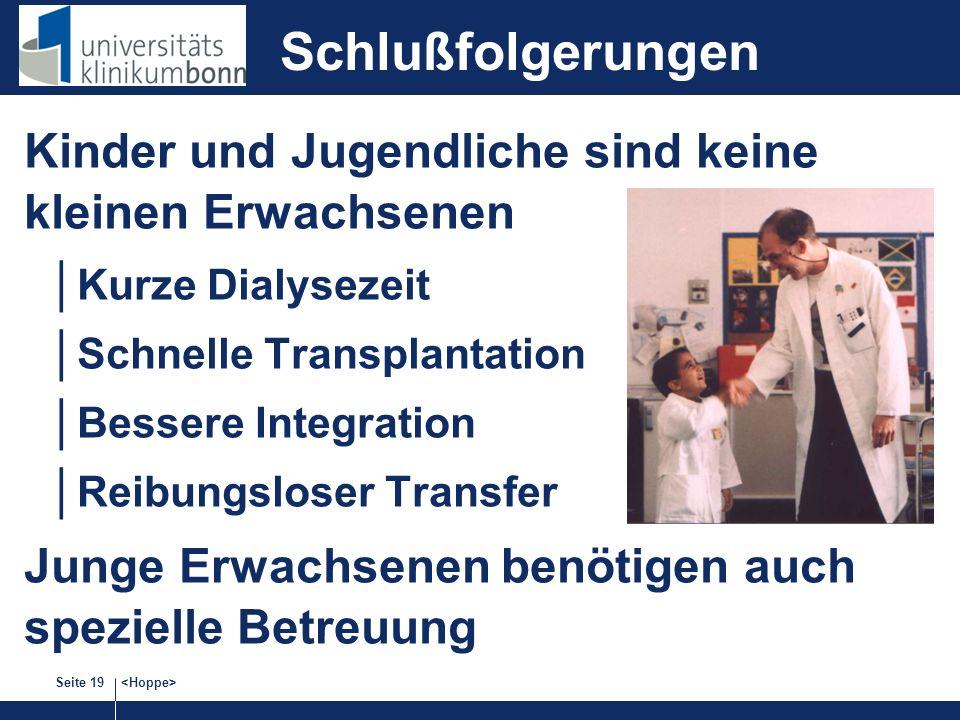 Seite 19 Schlußfolgerungen Kinder und Jugendliche sind keine kleinen Erwachsenen Kurze Dialysezeit Schnelle Transplantation Bessere Integration Reibungsloser Transfer Junge Erwachsenen benötigen auch spezielle Betreuung