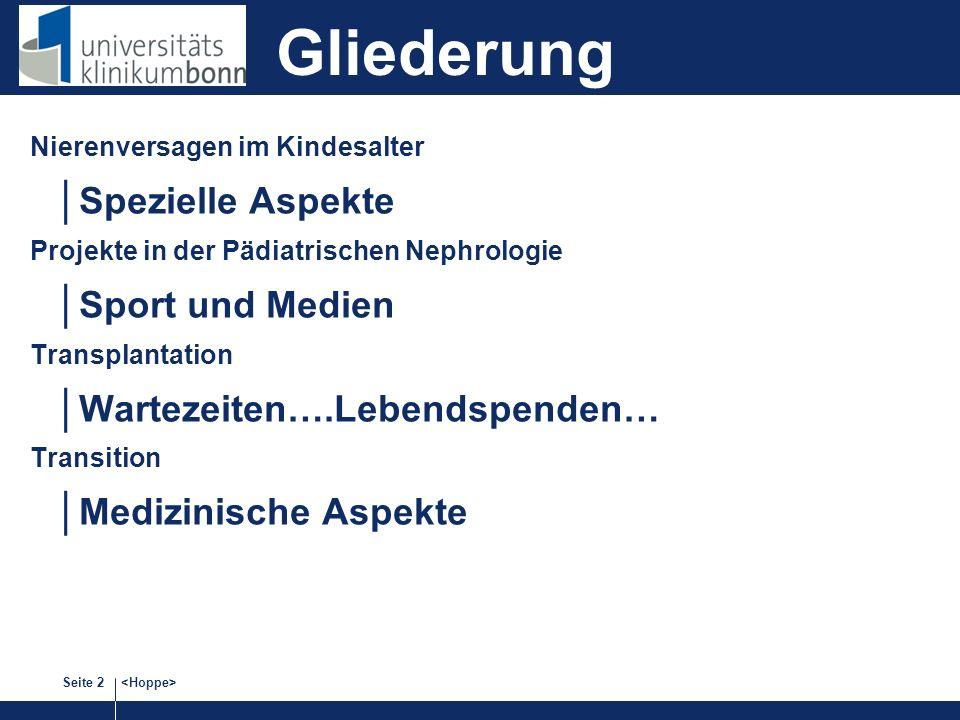 Seite 2 Nierenversagen im Kindesalter Spezielle Aspekte Projekte in der Pädiatrischen Nephrologie Sport und Medien Transplantation Wartezeiten….Lebendspenden… Transition Medizinische Aspekte Gliederung