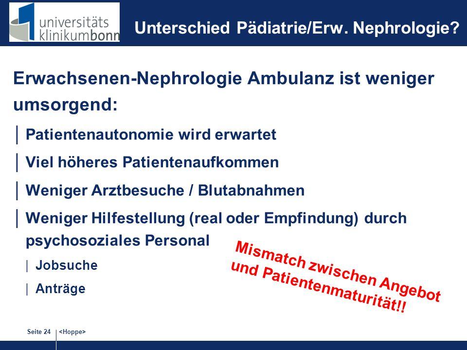 Seite 24 Unterschied Pädiatrie/Erw. Nephrologie? Erwachsenen-Nephrologie Ambulanz ist weniger umsorgend: Patientenautonomie wird erwartet Viel höheres