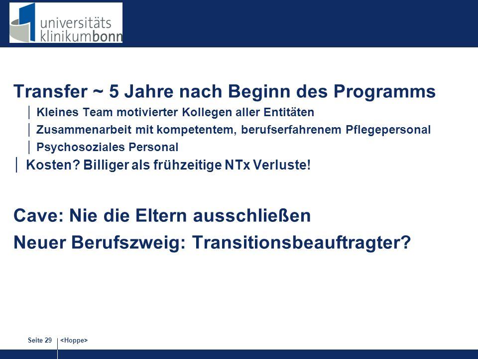 Seite 29 Transfer ~ 5 Jahre nach Beginn des Programms Kleines Team motivierter Kollegen aller Entitäten Zusammenarbeit mit kompetentem, berufserfahren
