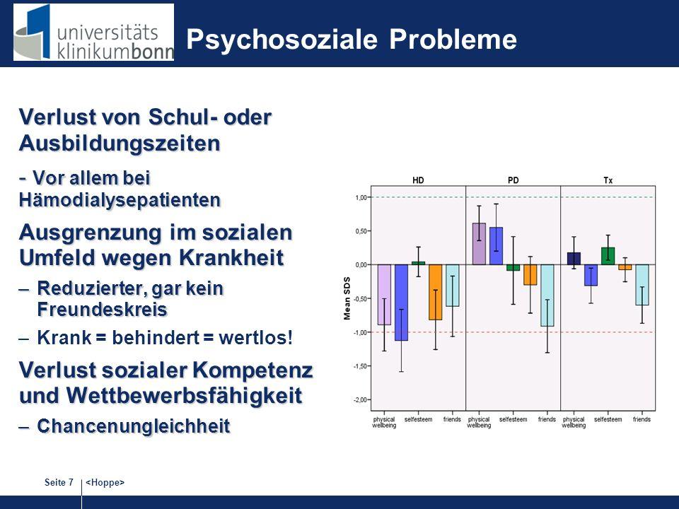 Seite 7 Psychosoziale Probleme Verlust von Schul- oder Ausbildungszeiten - Vor allem bei Hämodialysepatienten Ausgrenzung im sozialen Umfeld wegen Krankheit –Reduzierter, gar kein Freundeskreis –Krank = behindert = wertlos.