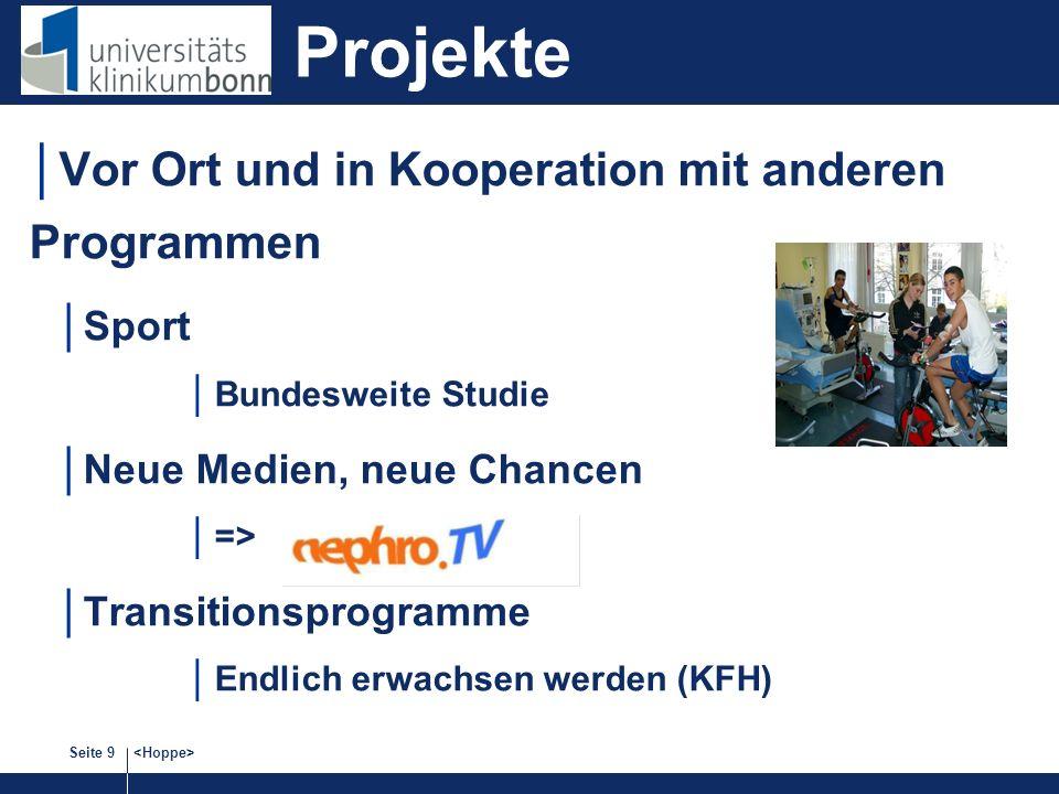 Seite 9 Vor Ort und in Kooperation mit anderen Programmen Sport Bundesweite Studie Neue Medien, neue Chancen => Transitionsprogramme Endlich erwachsen werden (KFH) Projekte