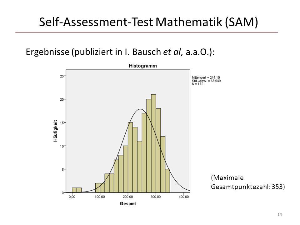 Self-Assessment-Test Mathematik (SAM) Ergebnisse (publiziert in I. Bausch et al, a.a.O.): (Maximale Gesamtpunktezahl: 353) 19