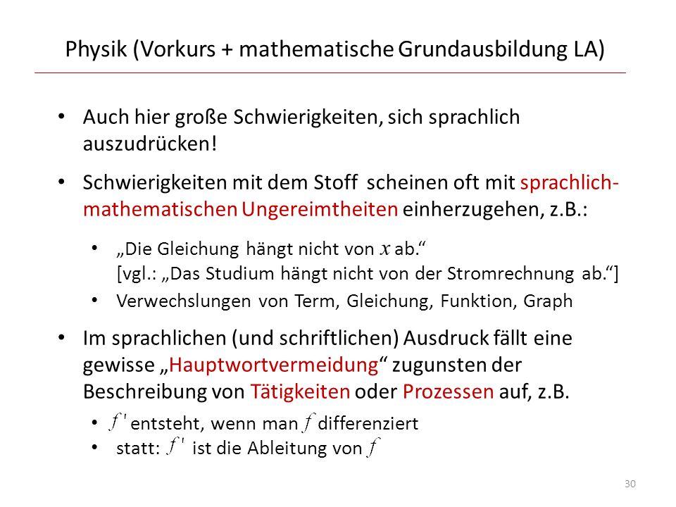 Physik (Vorkurs + mathematische Grundausbildung LA) Auch hier große Schwierigkeiten, sich sprachlich auszudrücken! Schwierigkeiten mit dem Stoff schei