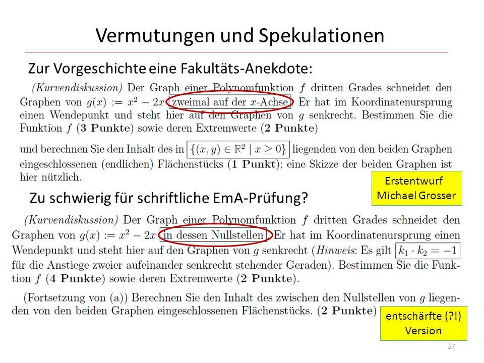 Vermutungen und Spekulationen Zur Vorgeschichte eine Fakultäts-Anekdote: Zu schwierig für schriftliche EmA-Prüfung? 37 entschärfte (?!) Version Ersten