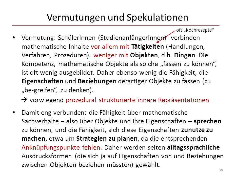 Vermutungen und Spekulationen Vermutung: SchülerInnen (StudienanfängerInnen) verbinden mathematische Inhalte vor allem mit Tätigkeiten (Handlungen, Ve