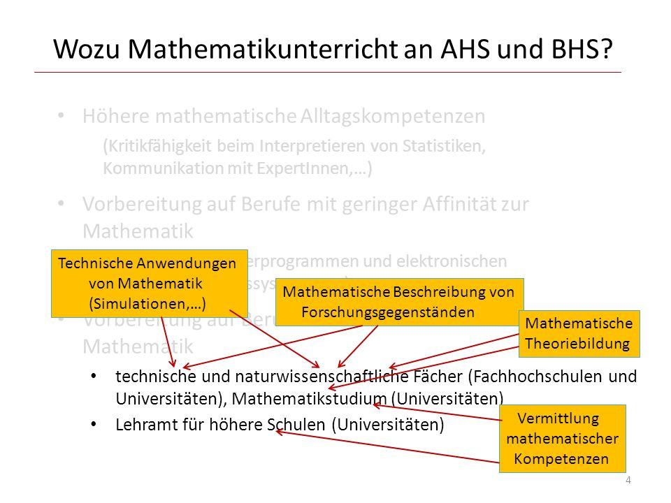 Der Übergang Schule weiterführende Ausbildung Weiterbildende Institutionen wollen an (gewissen) mathematischen Vorkenntnissen und Kompetenzen anknüpfen.