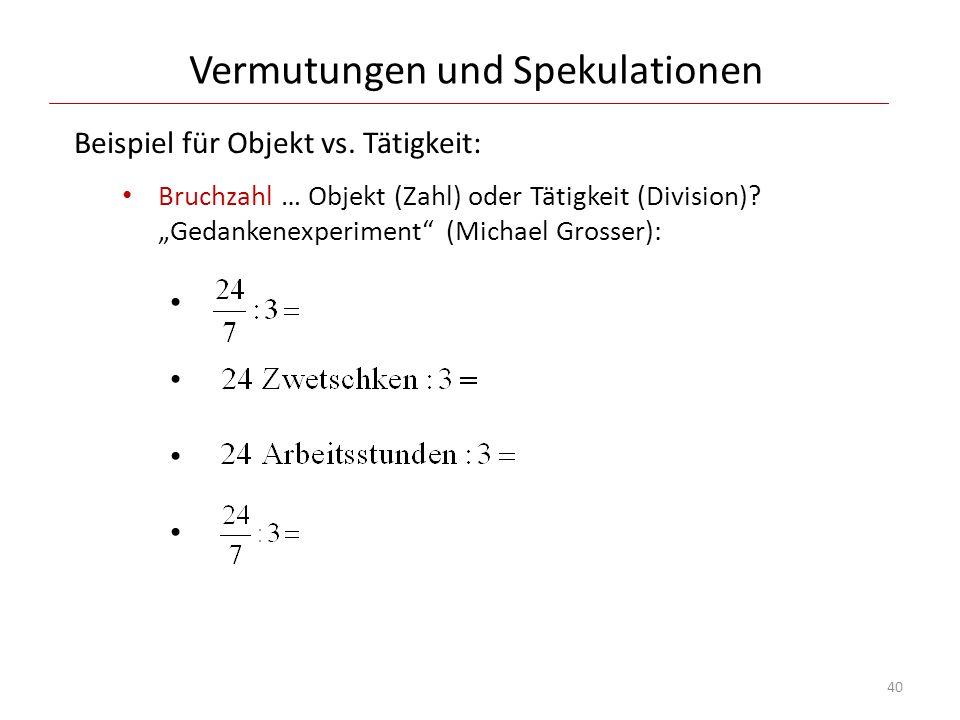Vermutungen und Spekulationen Beispiel für Objekt vs. Tätigkeit: Bruchzahl … Objekt (Zahl) oder Tätigkeit (Division)? Gedankenexperiment (Michael Gros