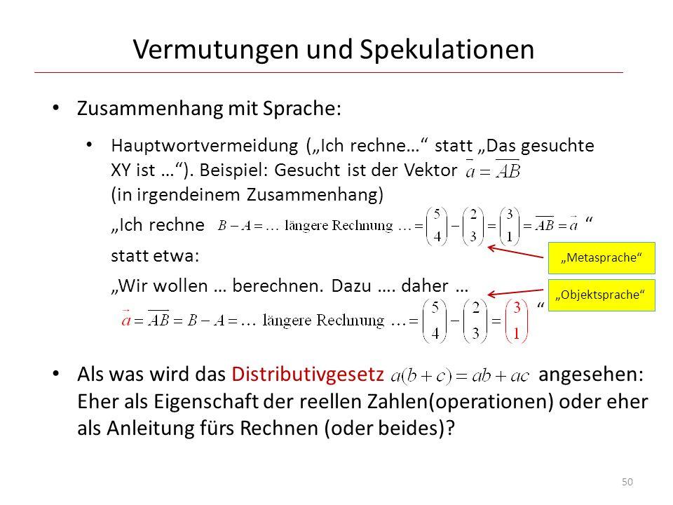 Vermutungen und Spekulationen Zusammenhang mit Sprache: Hauptwortvermeidung (Ich rechne… statt Das gesuchte XY ist …). Beispiel: Gesucht ist der Vekto