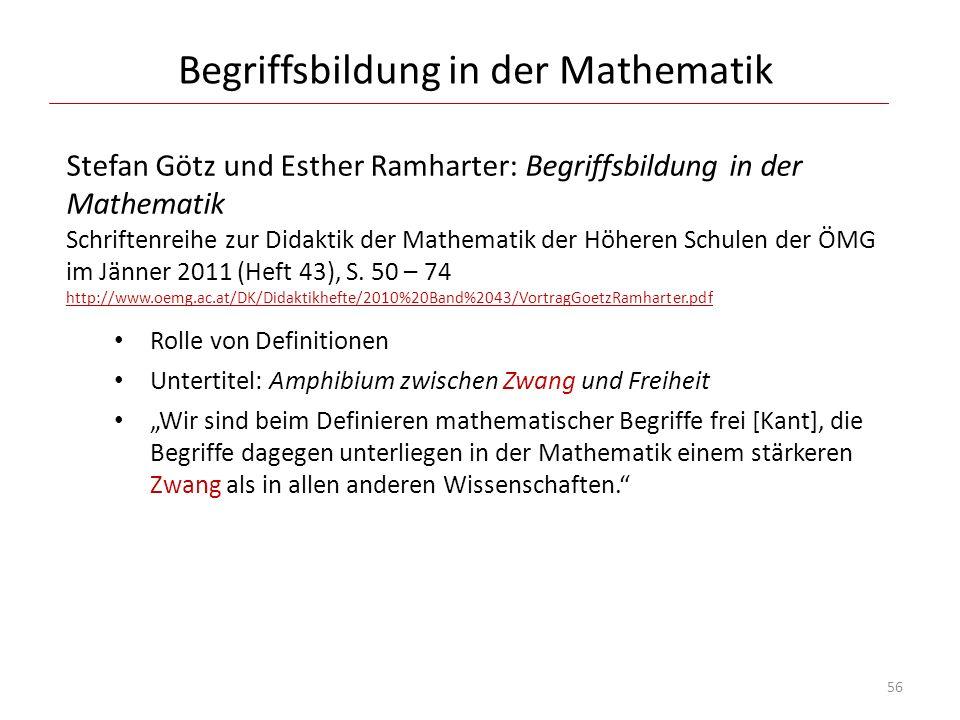 Begriffsbildung in der Mathematik Stefan Götz und Esther Ramharter: Begriffsbildung in der Mathematik Schriftenreihe zur Didaktik der Mathematik der H