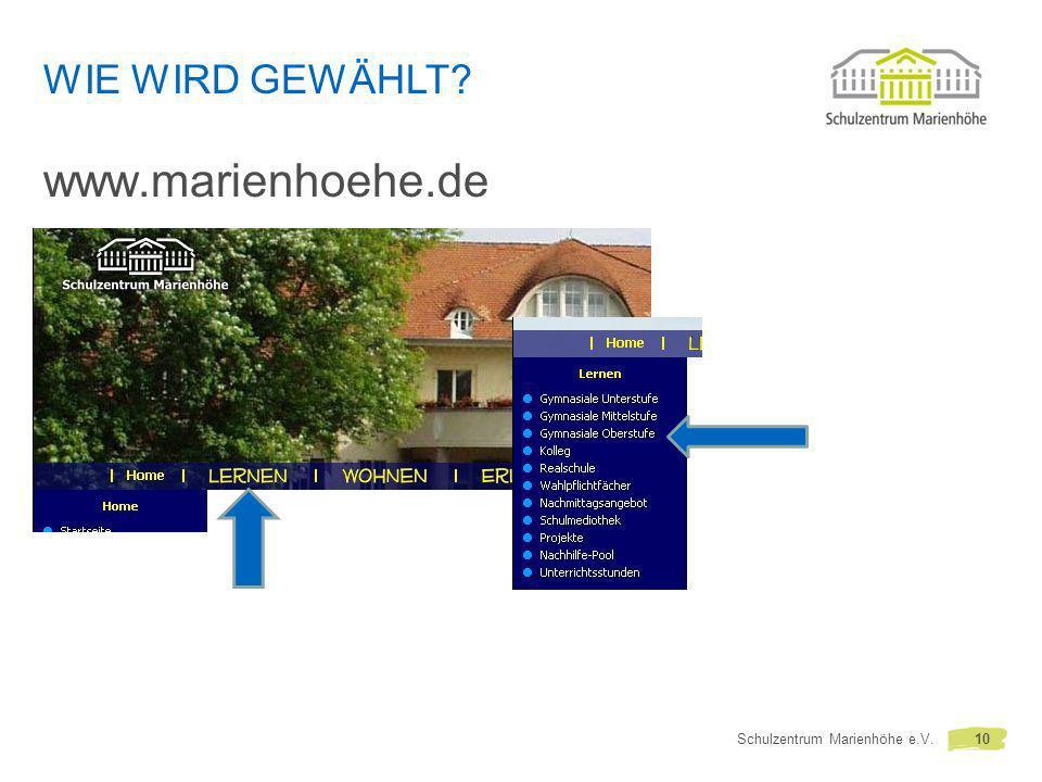 WIE WIRD GEWÄHLT? www.marienhoehe.de Schulzentrum Marienhöhe e.V.10