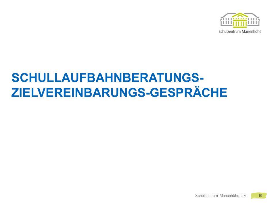 SCHULLAUFBAHNBERATUNGS- ZIELVEREINBARUNGS-GESPRÄCHE Schulzentrum Marienhöhe e.V.10
