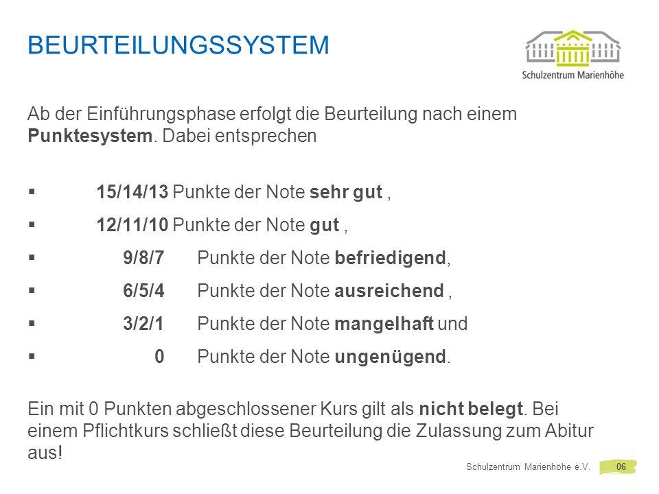 BEURTEILUNGSSYSTEM Ab der Einführungsphase erfolgt die Beurteilung nach einem Punktesystem.