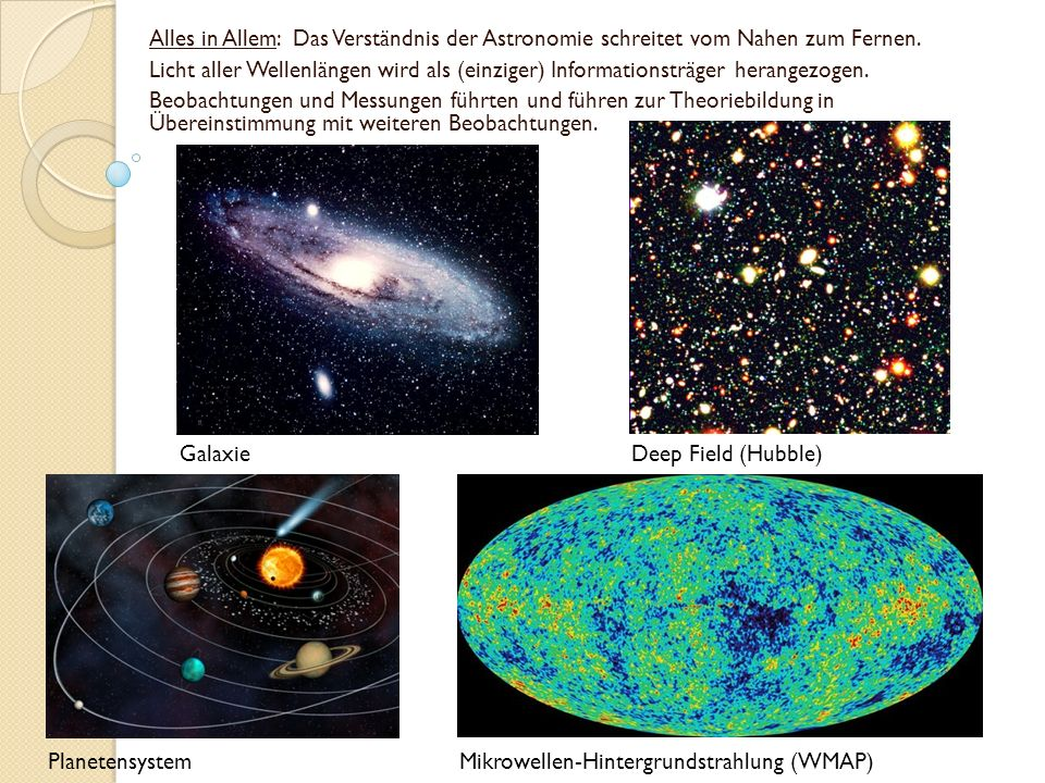 Alles in Allem: Das Verständnis der Astronomie schreitet vom Nahen zum Fernen. Licht aller Wellenlängen wird als (einziger) Informationsträger herange