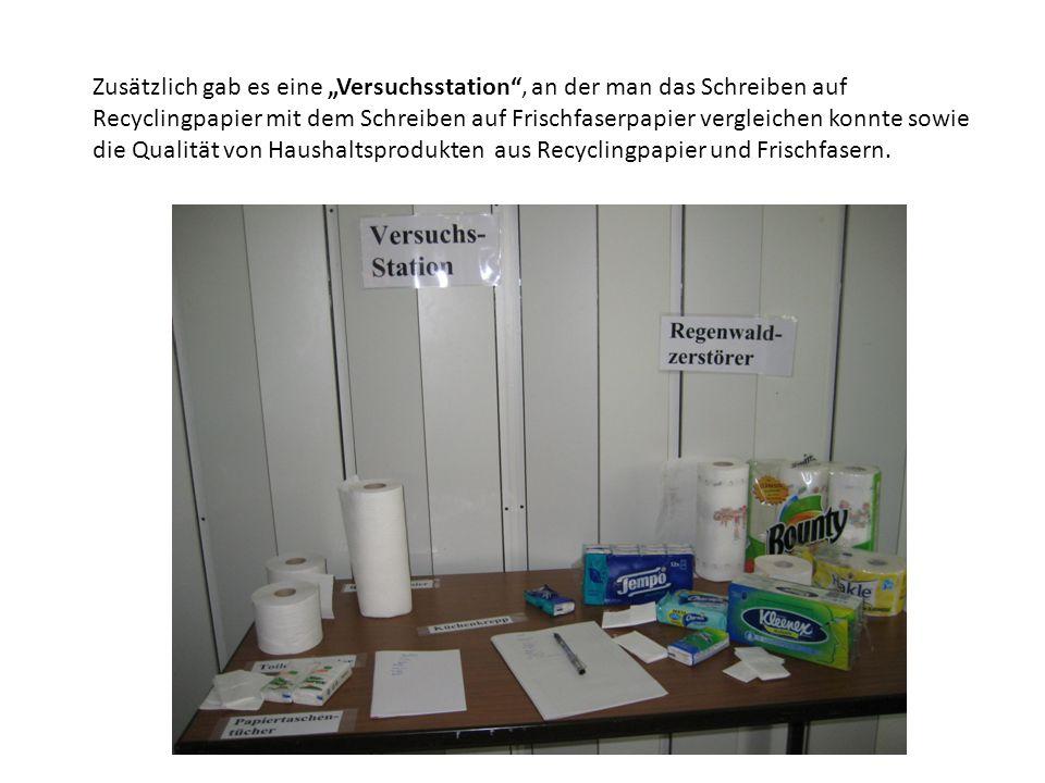 Zusätzlich gab es eine Versuchsstation, an der man das Schreiben auf Recyclingpapier mit dem Schreiben auf Frischfaserpapier vergleichen konnte sowie die Qualität von Haushaltsprodukten aus Recyclingpapier und Frischfasern.