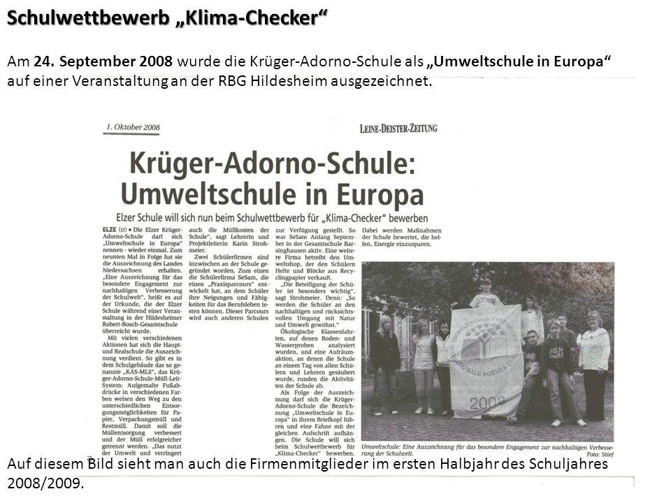 Schulwettbewerb Klima-Checker Am 24.