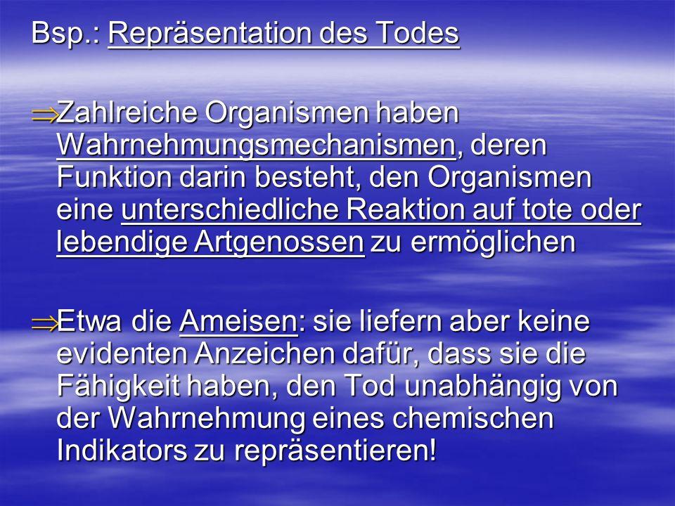 Bsp.: Repräsentation des Todes Zahlreiche Organismen haben Wahrnehmungsmechanismen, deren Funktion darin besteht, den Organismen eine unterschiedliche