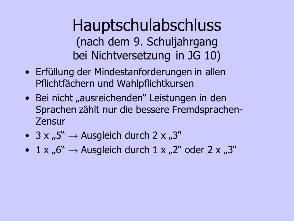 Sekundarabschluss I – Hauptschulabschluss (nach dem 10.