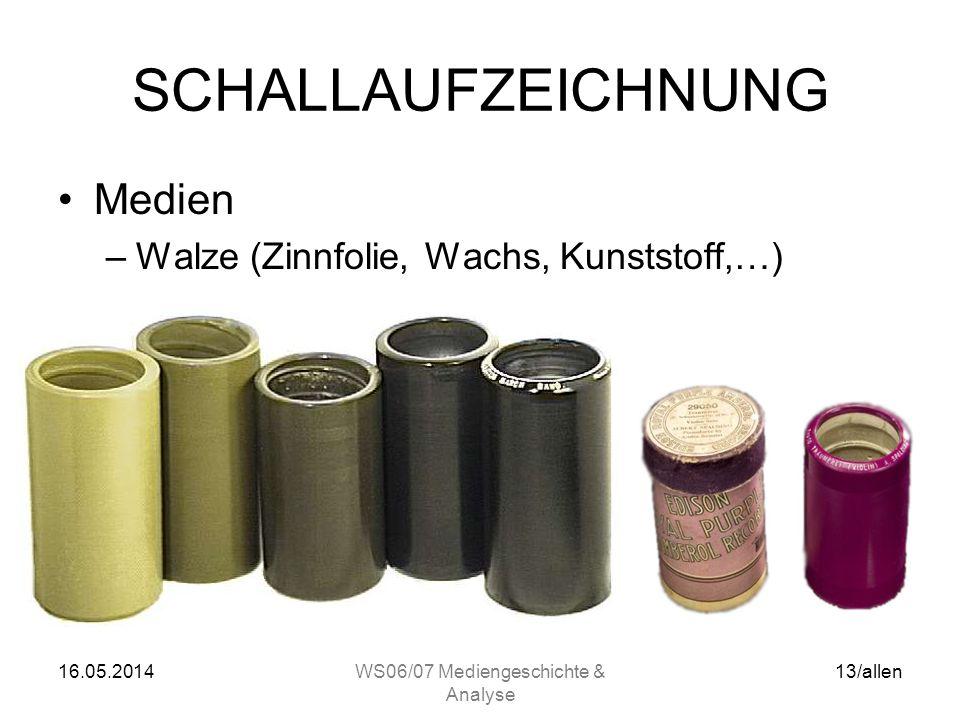 16.05.2014WS06/07 Mediengeschichte & Analyse 12/allen SCHALLAUFZEICHNUNG Rillen-/Platten-Schriften –Horizontal (Lateral); Seitenschrift