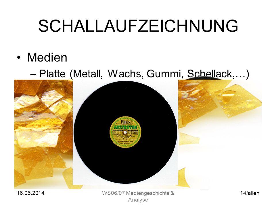 16.05.2014WS06/07 Mediengeschichte & Analyse 13/allen SCHALLAUFZEICHNUNG Medien –Walze (Zinnfolie, Wachs, Kunststoff,…)