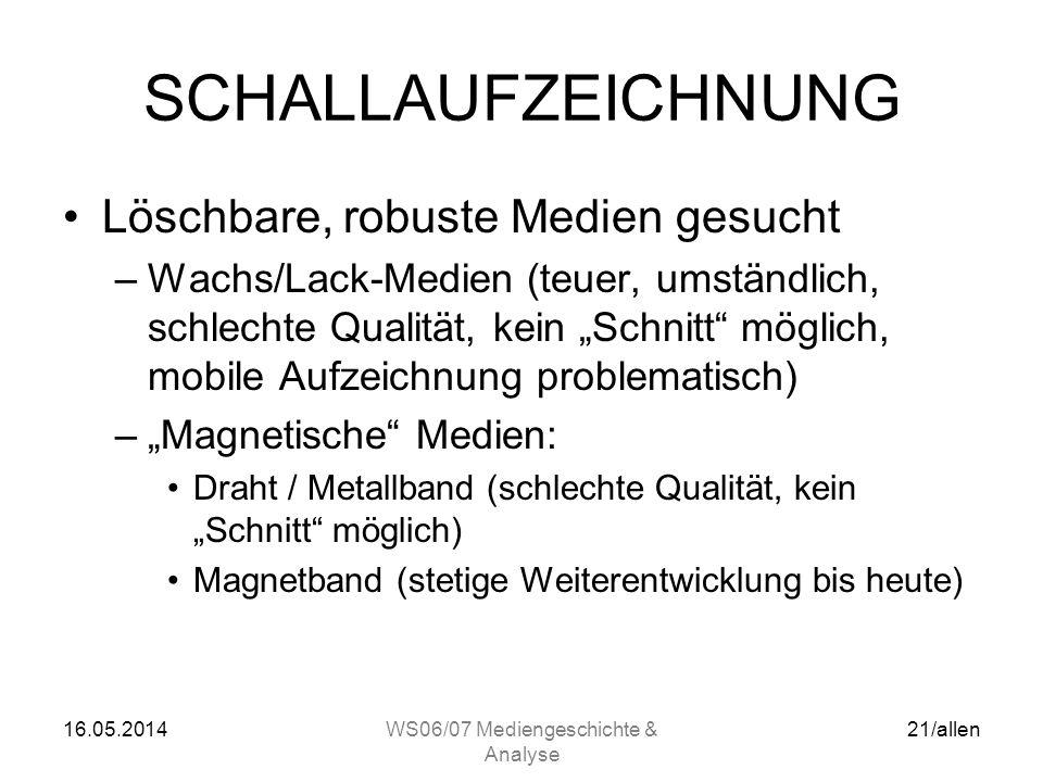 16.05.2014WS06/07 Mediengeschichte & Analyse 20/allen SCHALLAUFZEICHNUNG Drahtton –Fritz Pfleumer (A/D) Dresden 1928: Tonband (Papierband beschichtet