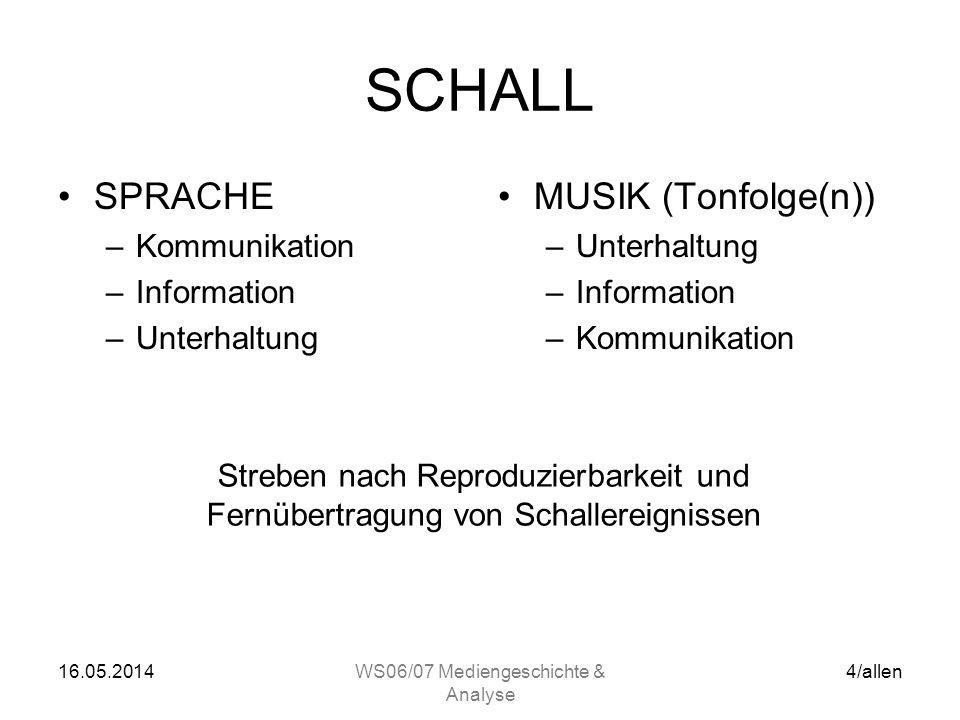16.05.2014WS06/07 Mediengeschichte & Analyse 3/allen SCHALL GERÄUSCH –99% des natürlichen akustischen Umfelds –Unregelmäßige Schwingung(en) TON –1% de