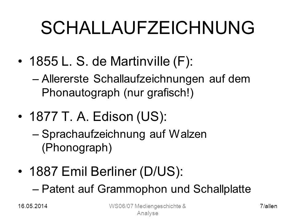 16.05.2014WS06/07 Mediengeschichte & Analyse 6/allen SCHALLAUFZEICHNUNG Musik konnte also reproduziert werden, aber was war mit der Sprache? Wolfgang