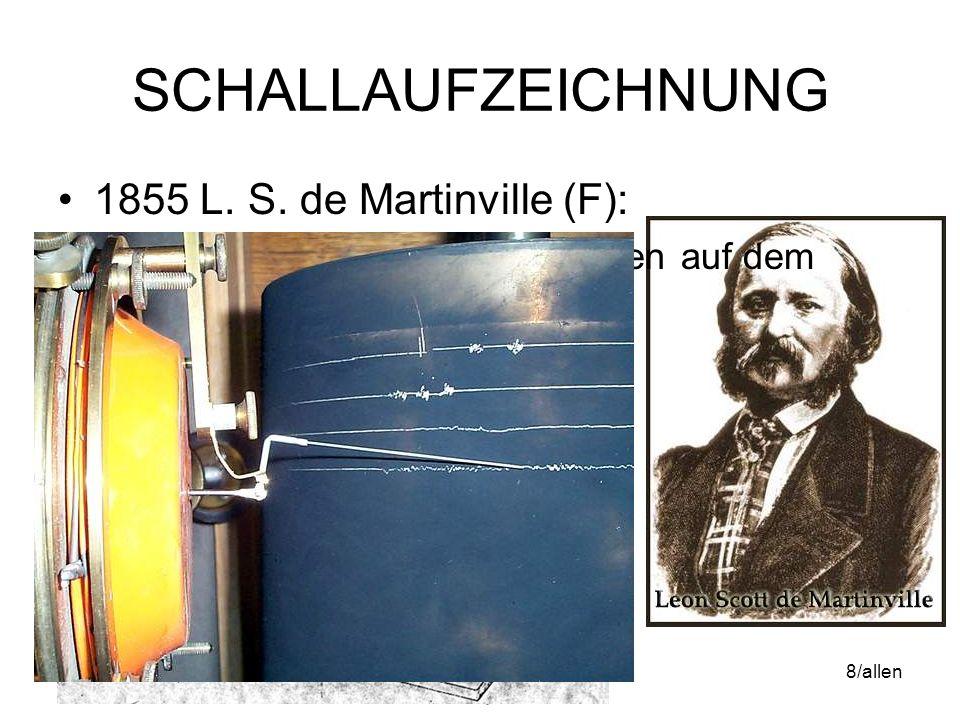 16.05.2014WS06/07 Mediengeschichte & Analyse 7/allen SCHALLAUFZEICHNUNG 1855 L. S. de Martinville (F): –Allererste Schallaufzeichnungen auf dem Phonau