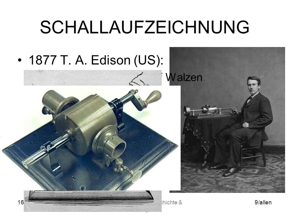 16.05.2014WS06/07 Mediengeschichte & Analyse 9/allen SCHALLAUFZEICHNUNG 1877 T.