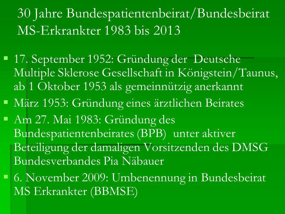 30 Jahre Bundespatientenbeirat/Bundesbeirat MS-Erkrankter 1983 bis 2013 17. September 1952: Gründung der Deutsche Multiple Sklerose Gesellschaft in Kö