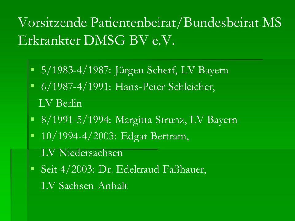Vorsitzende Patientenbeirat/Bundesbeirat MS Erkrankter DMSG BV e.V. 5/1983-4/1987: Jürgen Scherf, LV Bayern 6/1987-4/1991: Hans-Peter Schleicher, LV B