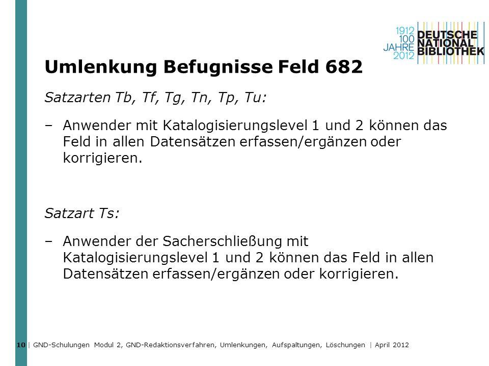 Umlenkung Befugnisse Feld 682 Satzarten Tb, Tf, Tg, Tn, Tp, Tu: –Anwender mit Katalogisierungslevel 1 und 2 können das Feld in allen Datensätzen erfas