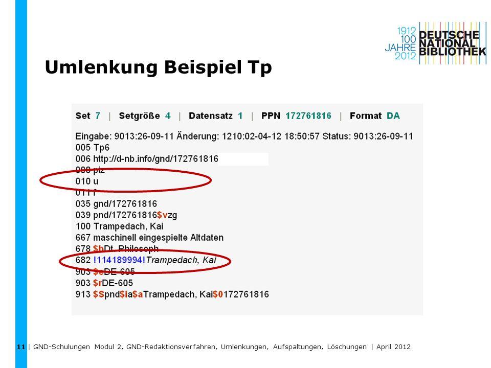 Umlenkung Beispiel Tp | GND-Schulungen Modul 2, GND-Redaktionsverfahren, Umlenkungen, Aufspaltungen, Löschungen | April 2012 11