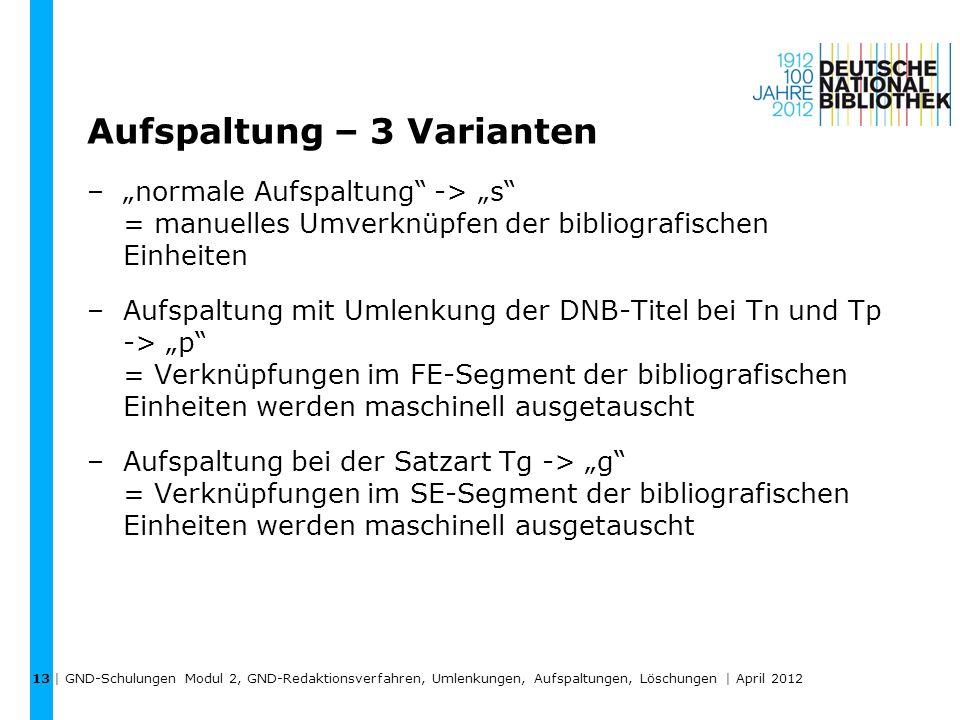 Aufspaltung – 3 Varianten –normale Aufspaltung -> s = manuelles Umverknüpfen der bibliografischen Einheiten –Aufspaltung mit Umlenkung der DNB-Titel b