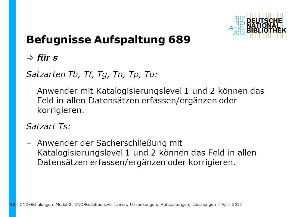 Befugnisse Aufspaltung 689 für s Satzarten Tb, Tf, Tg, Tn, Tp, Tu: –Anwender mit Katalogisierungslevel 1 und 2 können das Feld in allen Datensätzen er