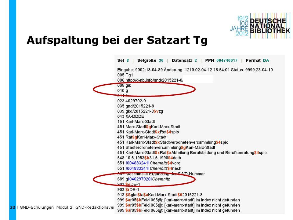 Aufspaltung bei der Satzart Tg | GND-Schulungen Modul 2, GND-Redaktionsverfahren, Umlenkungen, Aufspaltungen, Löschungen | April 2012 20