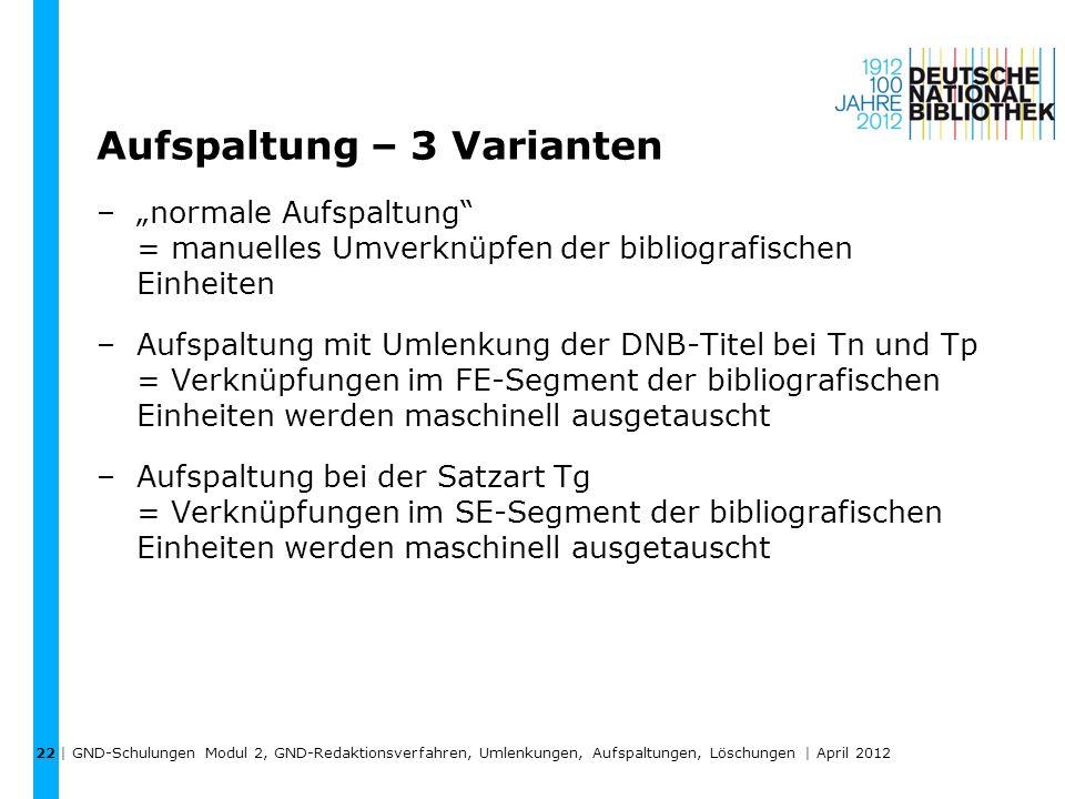 Aufspaltung – 3 Varianten –normale Aufspaltung = manuelles Umverknüpfen der bibliografischen Einheiten –Aufspaltung mit Umlenkung der DNB-Titel bei Tn